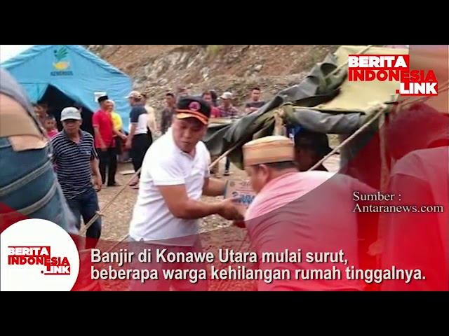 Banjir di Konawe Utara mulai surut, beberapa warga kehilangan rumah tinggalnya.