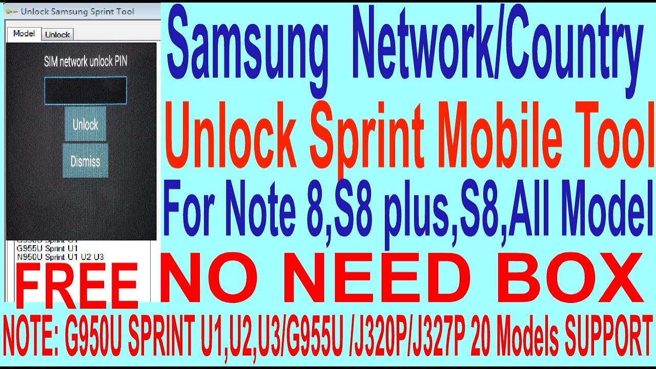 How To Samsung Network/Country Unlock Sprint Mobile Tool For Note 8,S8  plus,S8,All Model