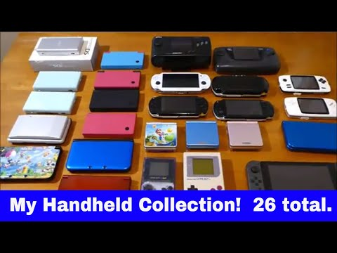 My collection Nintendo Switch PSP Vita NEW 3ds DS DSi Sega NOMAD Game Gear Game Boy SP CAANOO GPD XD
