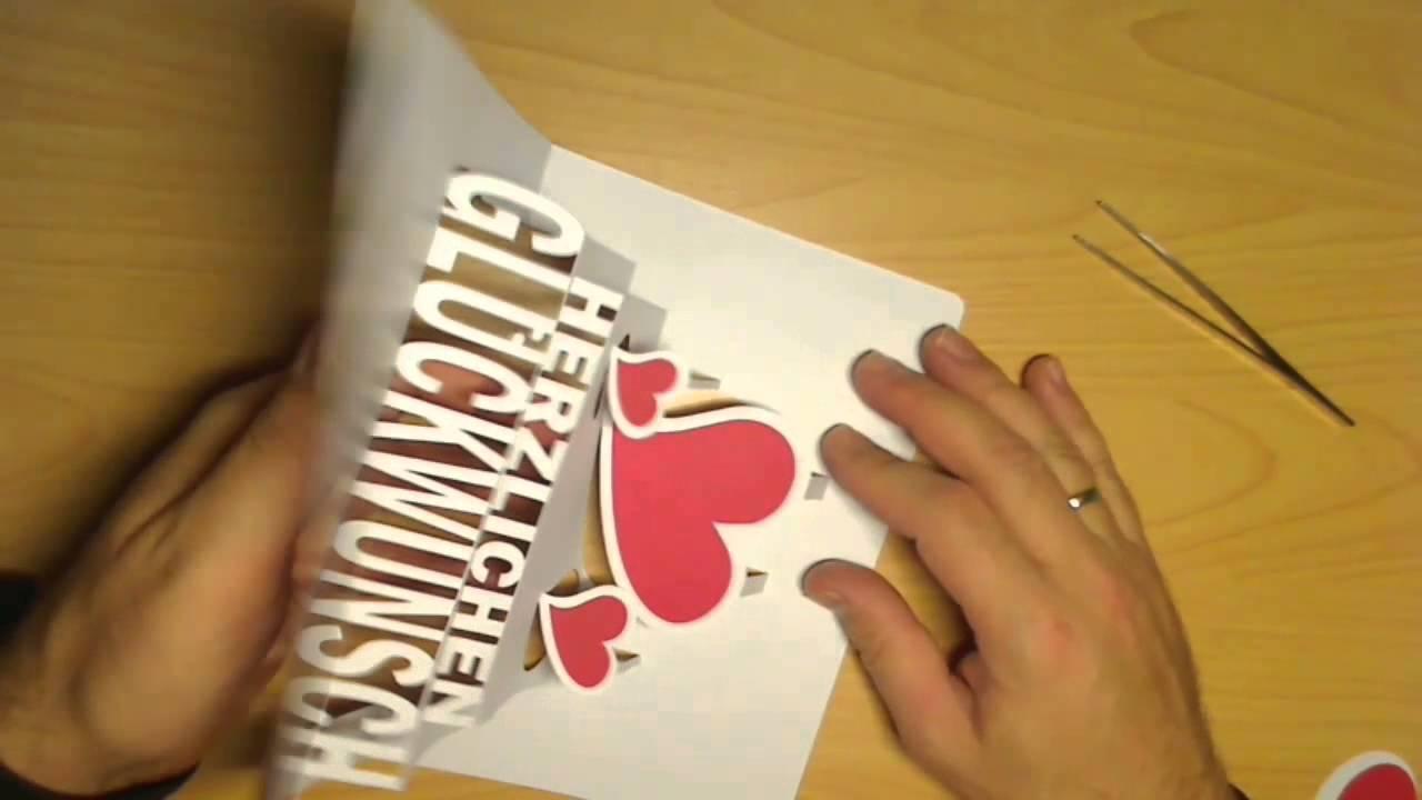 GSB Cards Herzlichen Glückwunsch Pop Up Card YouTube