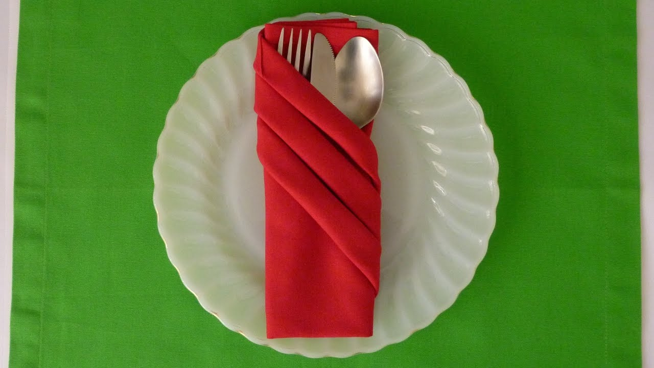 Folding Table Napkins : Napkin Folding - Fancy Pouch - YouTube