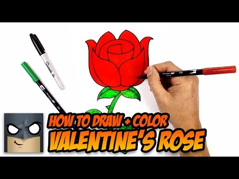 How to Draw a Rose   Valentine's Day   Step-by-Step Tutorial