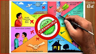How to draw Coronavirus awareness drawing || COVID19 safety poster chart project making ideas