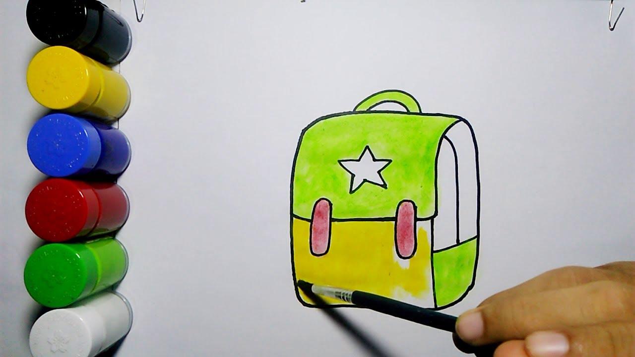 Cara Menggambar Dan Mewarnai Tas Sekolah Mudah