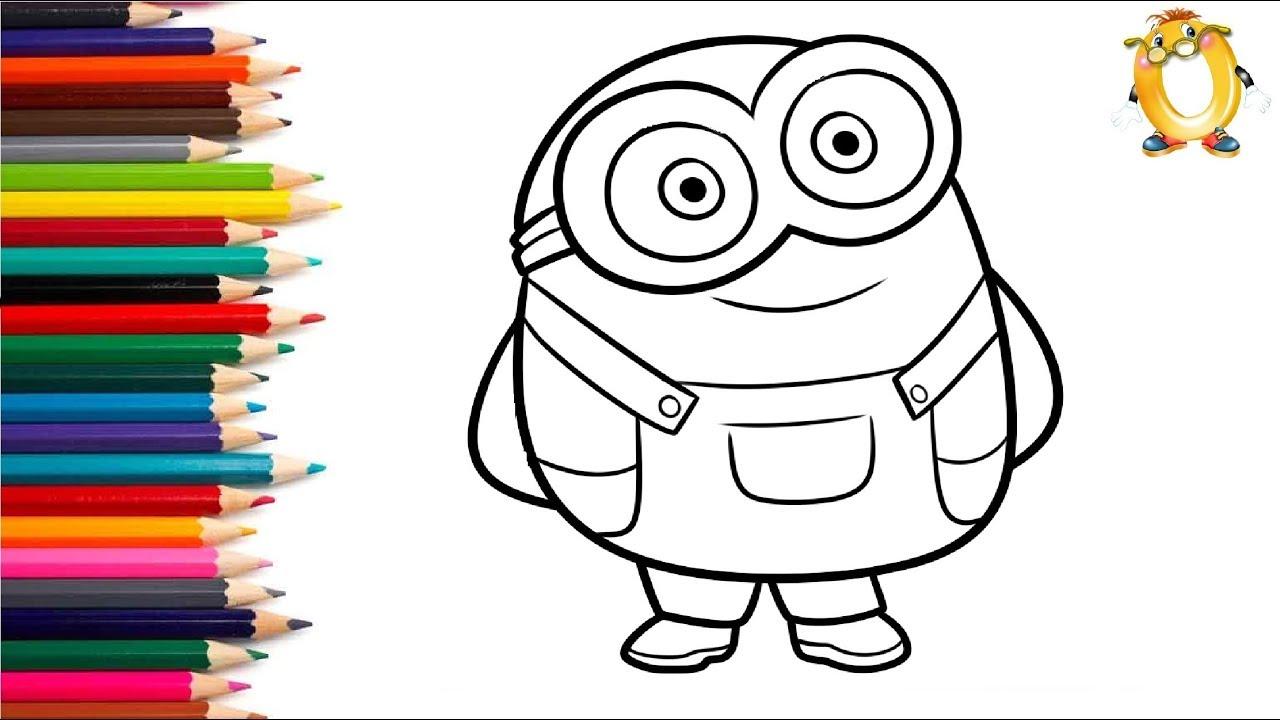Раскраска для детей ГЕРОИ МУЛЬТИКА МИНЬОНЫ. Учим цвета ...