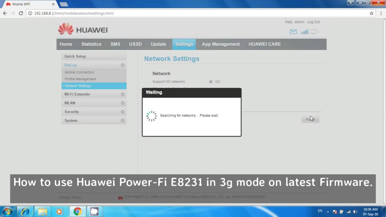 How to use Huawei Power Fi E8231 in 3g mode on latest Firmware