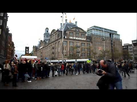 Dam square in Amsterdam street preaching