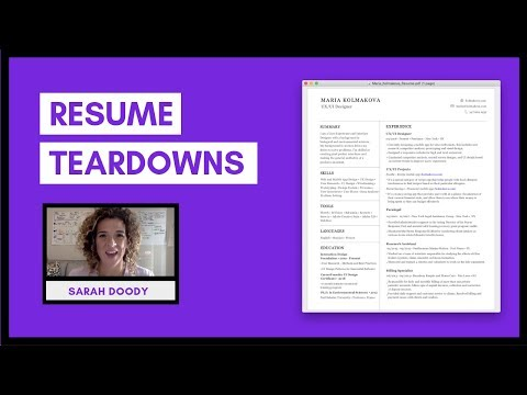UX Resume Reviews & Tips For How To Layout Your Resume | Sarah Doody, UX Designer