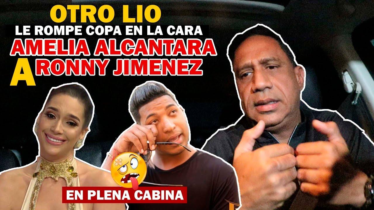 AMELIA ALCANTARA LE LANZA COPA EN LA CARA A RONNY JIMENEZ / OTRO LIO EN PLENA CABINA