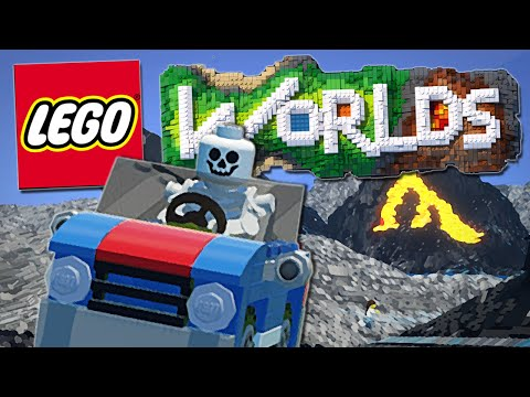 Lego Worlds | Skeletons, Bulldozers and EPIC Car Stunts!