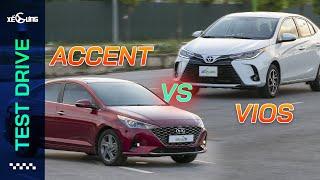 """Toyota Vios 2021 vs Hyundai Accent 2021 - Khi các anh tài hạng B """"so găng""""   Xế Cưng Test Drive"""