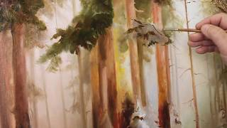"Пишем ""Зимний лес"". Воздушная перспектива."