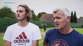 Stefanos Tsitsipas and his dad/coach talk switching to grass-court tennis | Halle 2018