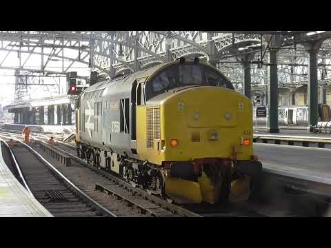 BR Large Logo 37424 on buffer testing at Glasgow Central   (29/10/17)