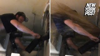 Poop explodes all over plumber while on the job