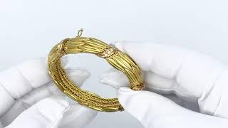 Vidéo: Bracelet signé LALAOUNIS Or jaune 18 k avec Diamants , 18,5 cm