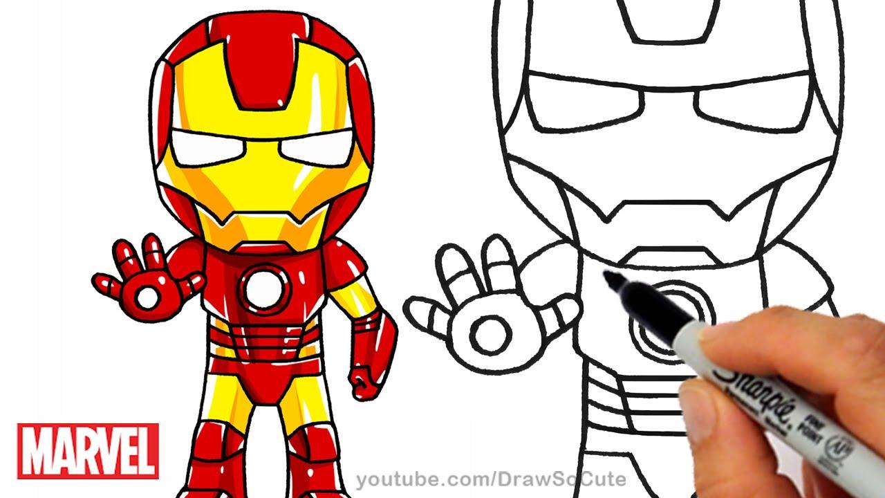 How To Draw Iron Man Step By Step Chibi Marvel Superhero Youtube