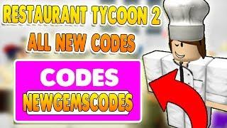 ALLE NEUEN RESTAURANT TYCOON 2 CODES ROBLOX