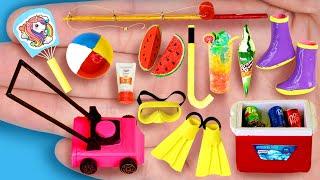 20 EASY REALISTIC DIY MINIATURE BARBIE IDEAS ~ Mini melon, fishing rod, swimming glasses and more!
