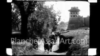 1920's film of China: camels traveling through the Beijing countryside