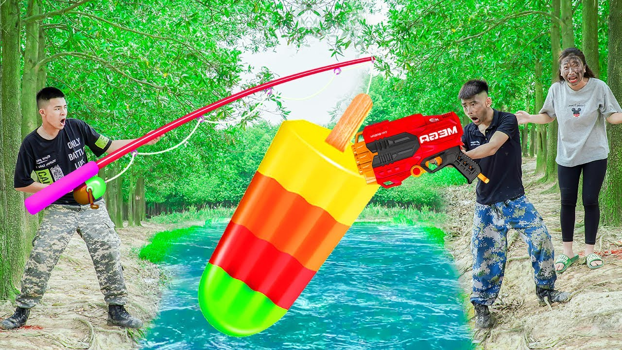 Battle Nerf War: MITMAN Fishing ICE CREAM NERF & COMPETITION Nerf Guns Fight JMan Delivery ICE CREAM