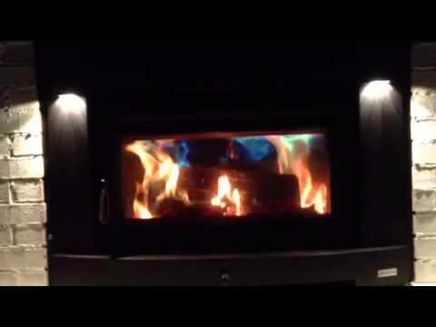 Beautiful fireplace with blue flames