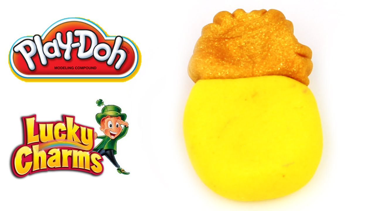 lucky charms pot of gold marshmallow made with play doh clay
