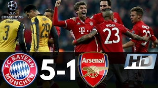 Bayern Munchen vs Arsenal 5-1 UEFA Champions League All Goals & Highlights 15/02/2017 HD