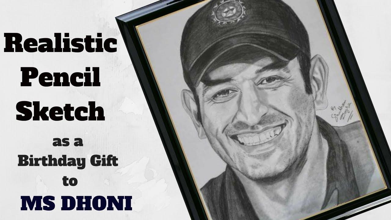 Pencil sketch of ms dhoni