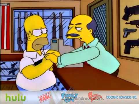 Homer at Gun Shop