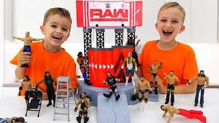 Vlad and Nikita play with WWE Toys