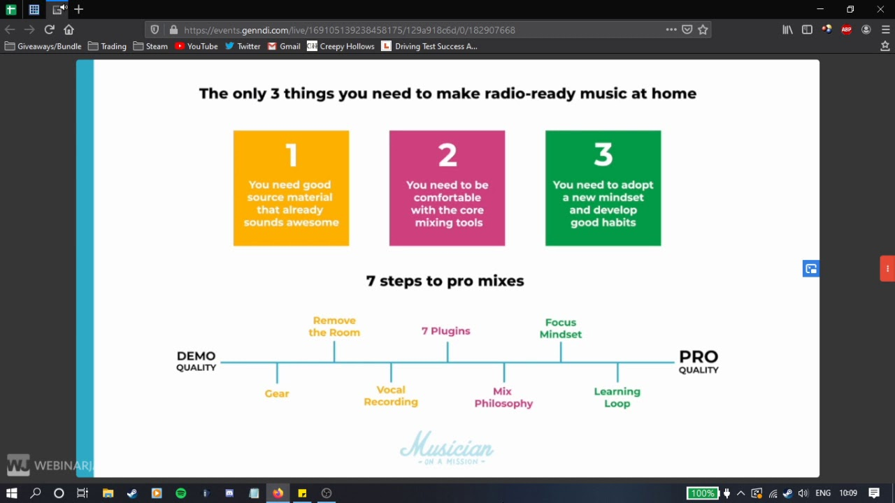 7 Steps To Pro Mixes At Home Musician On A Mission Webinarjam Youtube