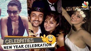 Suriya, Jyothika party hard in Dubai on New Year's Eve | Trisha, Lakshmi Rai