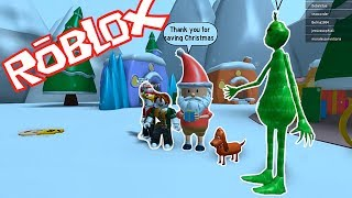HOW TO SAVE CHRISTMAS FROM THE EVIL GRINCH! BEBE VITA, ADRI ROBLOX ROLEPLAY OBBY PARKOUR SANTA CLAUS