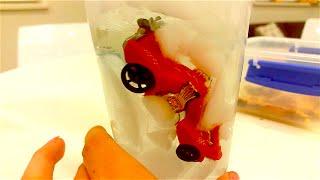 Машинка тонет во льду.  Может, ей холодно?