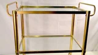 Vintage 1960's Hollywood Regency Mid Century Modern 2 Tier Brass Rolling Glass Bar Cart
