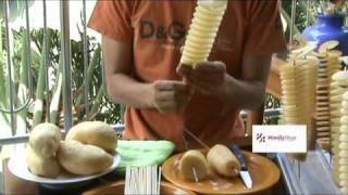 2 lines twist potato cutter machine or spiral potato cutter machine มันเกลียว