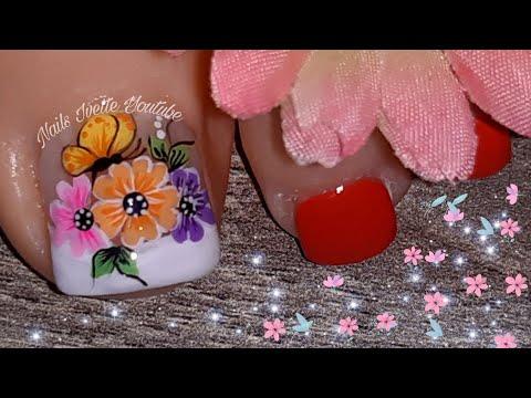 Decoración De Uñas Flores Y Mariposas Para Pie Uñas