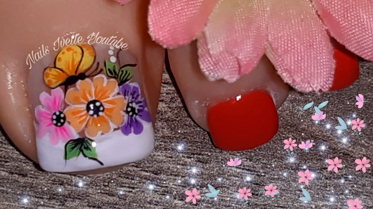 Decoración De Uñas Flores Y Mariposas Para Pie Uñas Decoradas Para Pié Diseño De Uñas Para Pié