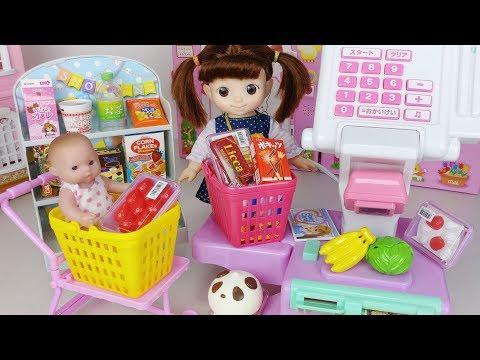 Baby doll mart register and food shop toys shopping play 아기인형 마트 계산대와 음식 가게 쇼핑 장난감놀이 - 토이몽
