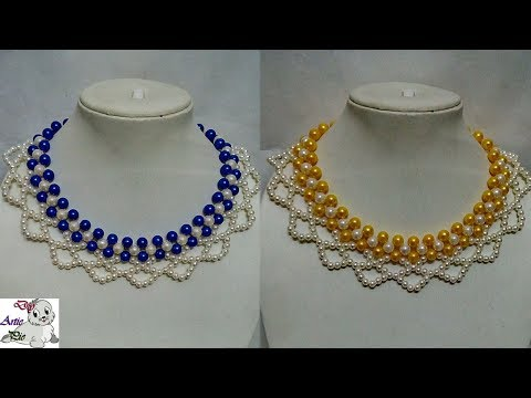 #92 How to Make Pearl  Beaded Necklace || Diy || Jewellery Making
