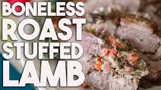 Boneless Lamb Roast With Goat's Cheese  & Red Peppers