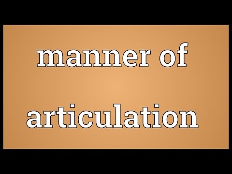Manner of articulation Meaning