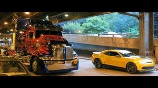 Optimus Prime, Bumblebee and Hound. Transformers 4 Age of Extinction filming in Chicgo