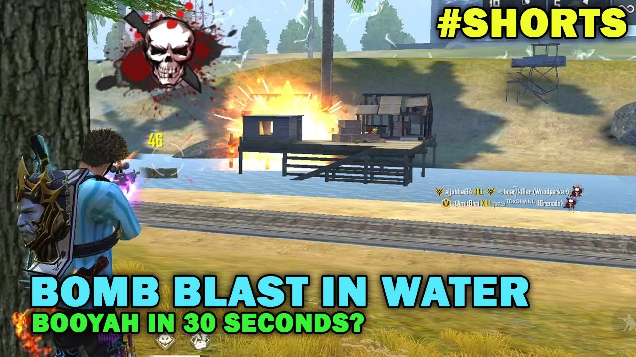 BOMB BLAST IN WATER | BOOYAH IN 30 SECONDS? | AJJUBHAI & AMITBHAI | Free Fire Highlights #shorts