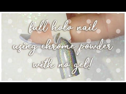 💿 How to use holographic chrome powder with NO GELl! 💿 SJNAILS