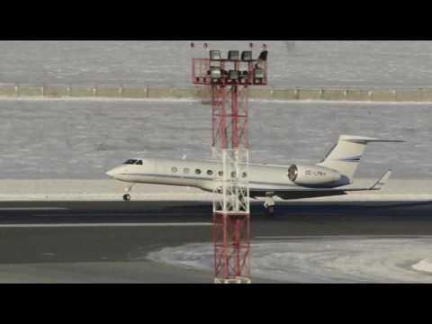 Gulfstream G550 OE LPN Global Jet Austria Takeoff RWY25 UNNT