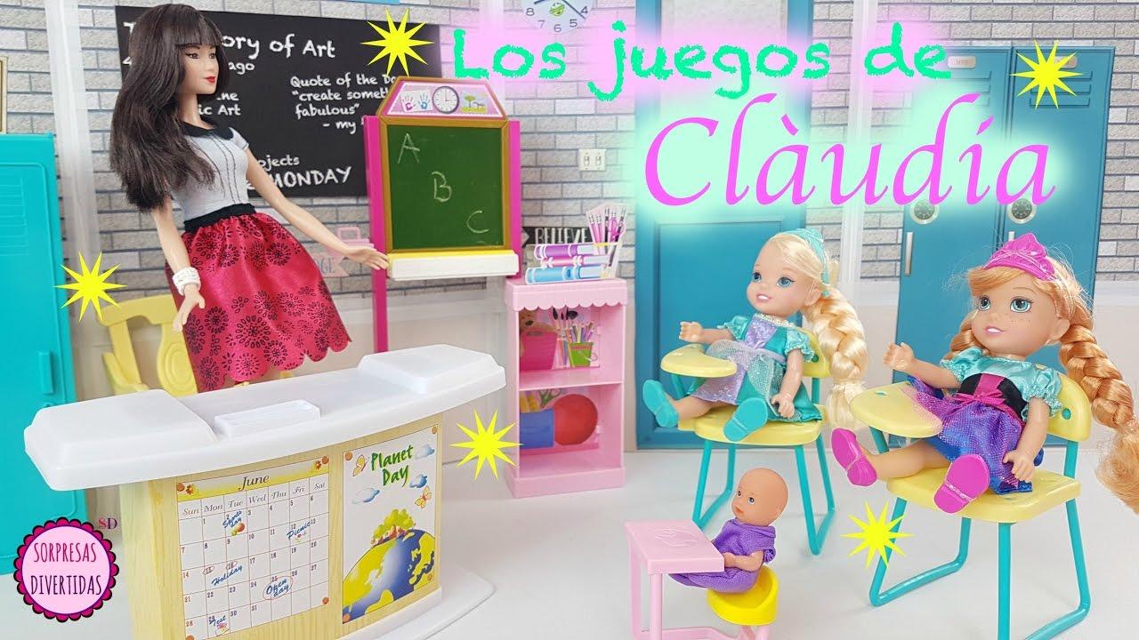 Juegos De Claudia 1 Frozen Elsa Y Ana Van A La Escuela Con Barbie Y