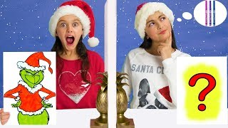 TWIN TELEPATHY 3 Marker Challenge Christmas Special Sis vs Sis! The Grinch+Frozen+ LOL Dolls