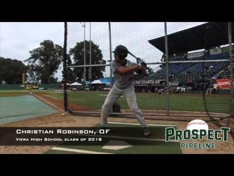 Christian Robinson, OF, Viera High School Class of 2018, Swing Mechanics at 200 fps